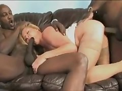 Interracial anal gangbang for a blonde mom