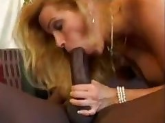 Blonde wife blows big black dick as hubby films