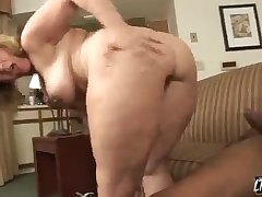 Horny Blonde white milf serves big black dick