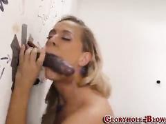 Cheating busty blonde wife gloryhole creampie
